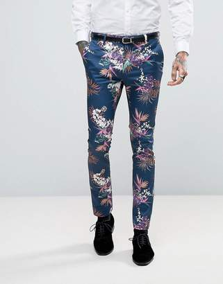 ASOS Super Skinny Suit Pants In Blue Tropical Floral Print In Sateen $64 thestylecure.com