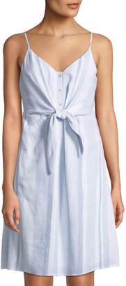 Astr Parker Tie-Waist Striped Dress