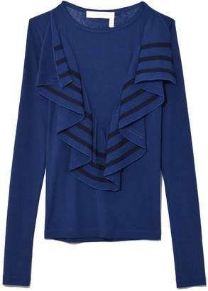 See by Chloe Long Sleeve Flouncy Top in Obscure Blue