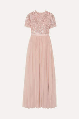 Needle & Thread Dream Rose Open-back Sequin-embellished Tulle Gown - Baby pink