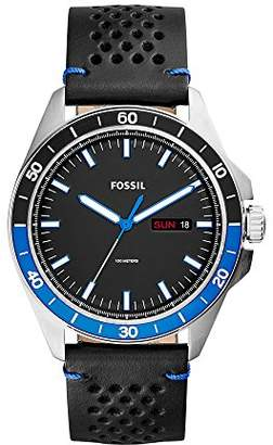 Fossil Men's 'Sport 54 3H Day-Date' Quartz Stainless Steel and Leather Casual Watch