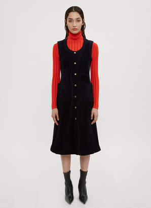Acne Studios Button Front Pocket Dress in Navy