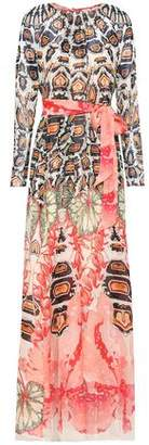 Temperley London Belted Printed Silk-Voile Maxi Dress