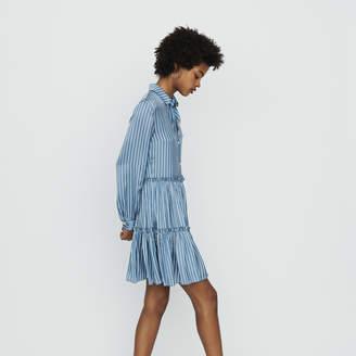 Maje Striped shirt dress with ruffles