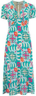 Libelula Tamara Dress Turquoise Geometric Print
