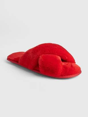 Gap Faux-Fur Crossover Slippers