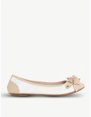 Dune Honeysuckle floral-detail leather ballet flats
