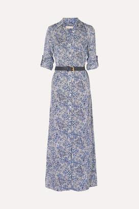 MICHAEL Michael Kors Coral Mosaic Printed Silk-georgette Maxi Dress - Navy
