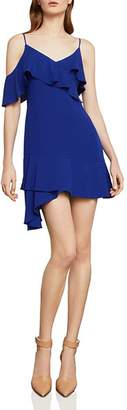 BCBGMAXAZRIA Asymmetric Ruffled Crepe Dress