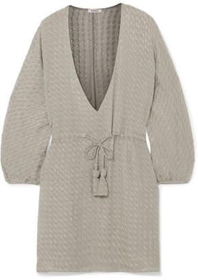 Eres Presley Fil Coupé Silk-blend Chiffon Mini Dress - Gray