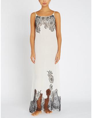 Myla Pansy Gardens lace-embellished silk-crepe de chine slip dress