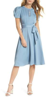 Gal Meets Glam Marilyn Satin Fit & Flare Dress