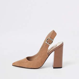 River Island Dark brown block heel sling back pumps