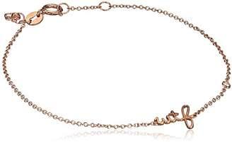 "Sydney Evan Shy By Sterling Silver Rose Gold Plated ""Wtf"" Bracelet Sterling with Diamond Bezel of 17.145cm"