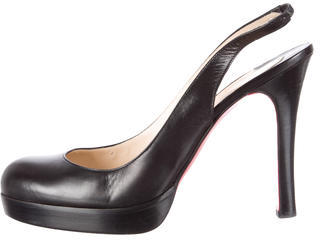 Christian Louboutin  Christian Louboutin Leather Platform Slingback Pumps
