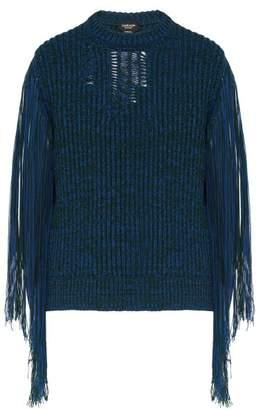 Calvin Klein Bi Colour Fringed Sleeve Sweater - Mens - Blue
