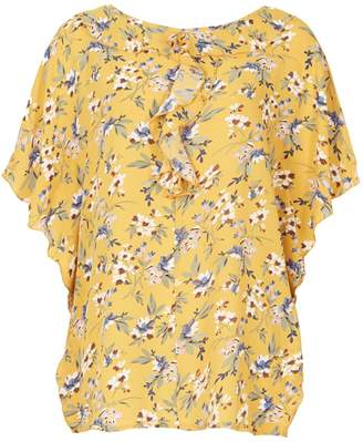 Dorothy Perkins Womens *Tenki Yellow Floral Ruffle Blouse