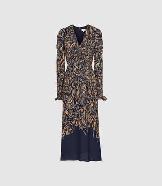 Reiss Erin - Abstract Feather Printed Midi Dress in Navy
