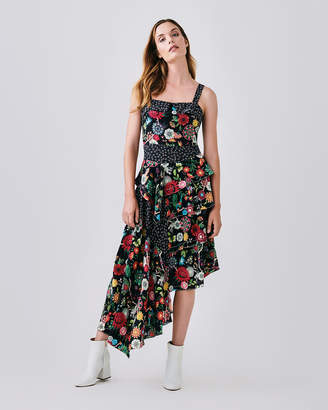 Nicole Miller Floral Nectary Asymmetrical Dress