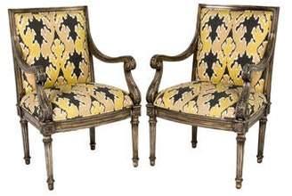 Kelly Wearstler Ikat Upholstered Armchairs