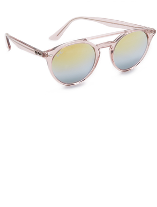 Ray-Ban Round Browbar Mirrored Sunglasses $175 thestylecure.com