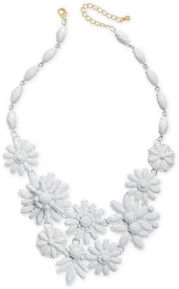 """INC International Concepts I.N.C. Gold-Tone Beaded Flower Statement Necklace, 18"""" + 3"""" extender, Created for Macy's"""