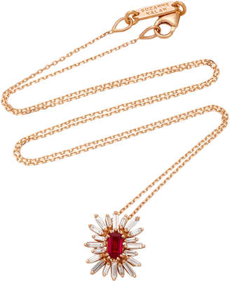 Suzanne Kalan One-of-a-Kind 18K Rose Gold Ruby and Diamond Necklace
