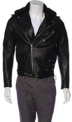 Acne Studios Araki Shearling-Accented Leather Jacket