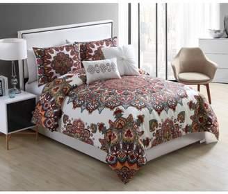 VCNY Home Multicolor Tamara Medallion 5 Piece Bedding Duvet Cover Set, Decorative Pillows Included