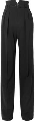 RED Valentino Belted Stretch-crepe Wide-leg Pants - Black