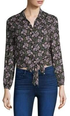 Paige Demaris Tie-Front Floral Print Blouse