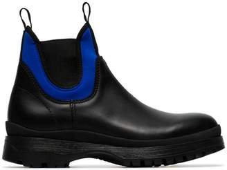 Prada black leather slip on Brixxen high top boots