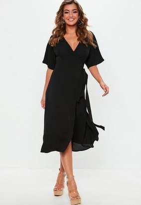 Missguided Black Short Sleeve Tie Belt Midi Dress