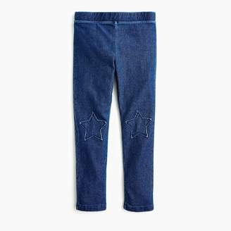 J.Crew Girls' denim leggings with star-shaped patches
