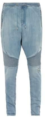 Balmain Distressed Biker Jeans - Mens - Blue