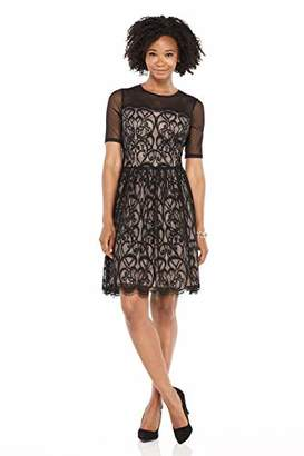 London Times Women's Elbow Sleeve Fit and Flare Dress w. Illusion Neckline