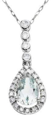 Lord & Taylor 14 Kt. White Gold Aqua and Diamond Pendant Necklace