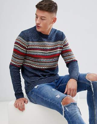 Pull&Bear Fair Isle Sweater In Blue