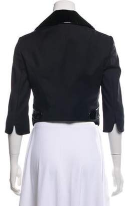 Dolce & Gabbana Leather-Trimmed Cropped Jacket Black Leather-Trimmed Cropped Jacket