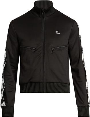 OFF-WHITE Logo-print zip-through track sweatshirt $460 thestylecure.com