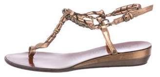 Lanvin Metallic T-Strap Sandals