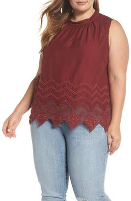 Caslon Embroidered Hem Top