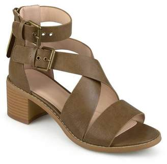 Brinley Co. Womens Stacked Wood Heel Faux Leather Double Ankle Strap Sandals