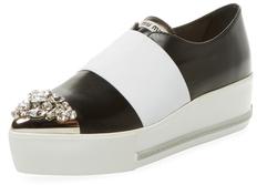 Miu MiuLeather Cap-Toe Platform Sneaker