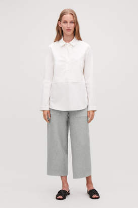 Cos CROPPED COTTON-CASHMERE TROUSERS