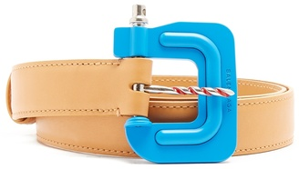 Clamp-buckle leather belt