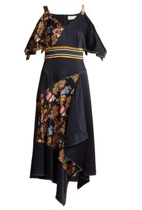 Peter Pilotto Off-the-shoulder fig-print silk dress