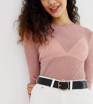 Glamorous Exclusive black waist and hip jeans belt with gold hexagon buckle