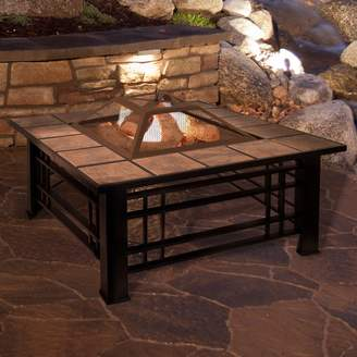 Pure Garden Tile Steel Wood Burning Fire Pit Table
