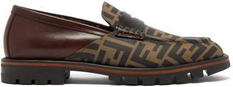 Fendi Logo Print Leather Penny Loafers - Mens - Brown